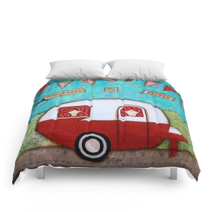 Society6 Vintage Camper Red Comforters in Twin, Full, Queen, King