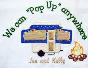 Custom Camping Dish Towel, Pop Up Trailer, Tent Trailer, Personalized RV Decor, Camper Dish Towel, Pop-up Camper Trailer