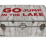 Go Jump in the Lake – Cottage & Cabin Storage Trunk – Themed Footlockers – 32 x 18 x 13.5 Inches