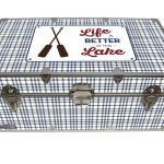 Life is Better at The Lake – Cottage & Cabin Storage Trunk – Themed Footlockers – 32 x 18 x 13.5 Inches