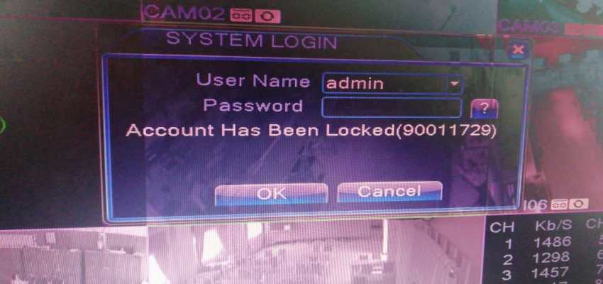 Cara mengatasi Error DVR CCTV Muncul Notifikasi Account Has Been Locked