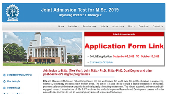 IIT JAM 2019 Application form link