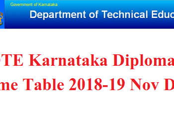 DTE Karnataka Diploma Time Table 2018-19 Nov Dec
