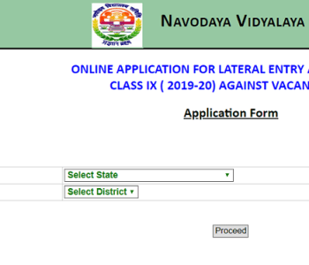 Navodaya 9th Class Admission Form 2019-20