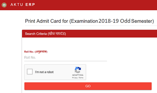 AKTU Odd Sem Admit Card 2018-19 For B.Tech B.Pharma MBA MCA 1st 3rd 5th Sem Released at aktu.ac.in