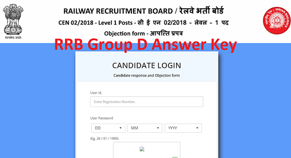 RRB Group D Answer Key 2018 Released, Download Pdf Here