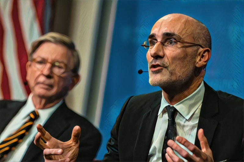 "Harvard Kennedy School Professor Arthur Brooks (right) says he believes  conservatism ""is open to the embracing of the idea of dignity and  potential for ambitious riffraff ..."""