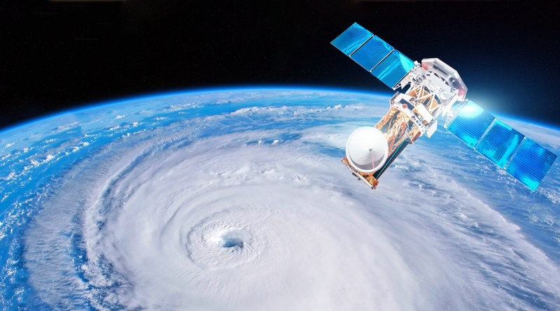 satellite above the earth measuring weather parameters hurricane