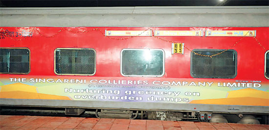 Hyderabad-Delhi Telangana Express now vinyl wrapped with Singareni Coal colours