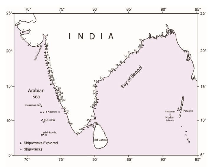 Map showing the shipwrecks in Indian waters (CSIR-NIO)