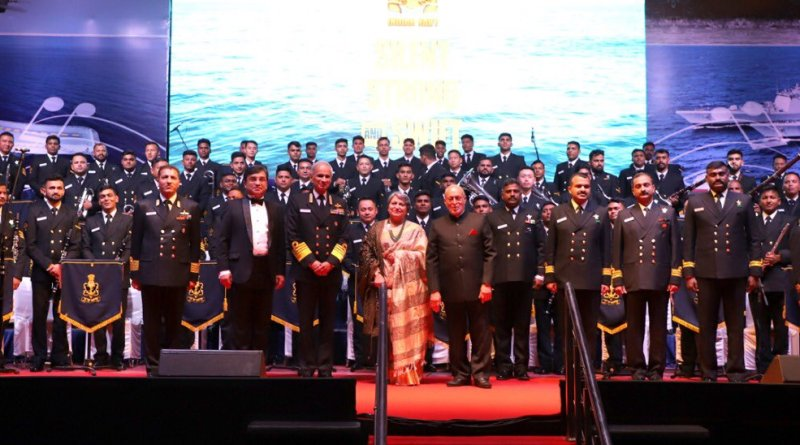 Indian Naval band performs at Symphonic Orchestra in Nehru Stadium, Delhi