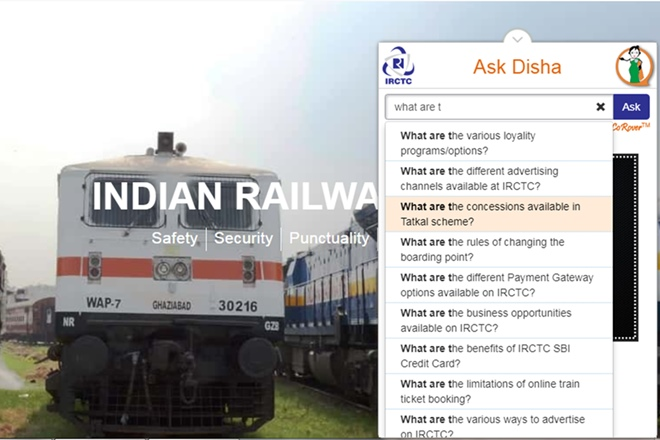 Indian Railways IRCTC chatbot 'AskDisha' now in Hindi