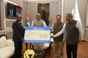 Cheque of Rs. 174 Cr from Bharat Electronics Ltd given to Minister Rajnath Singh. | Indus Dictum