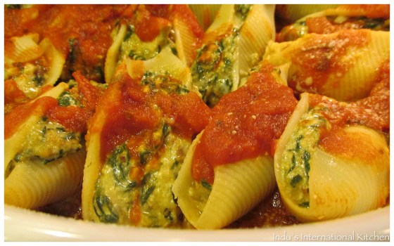 Spinach and Mushroom Stuffed Pasta shells