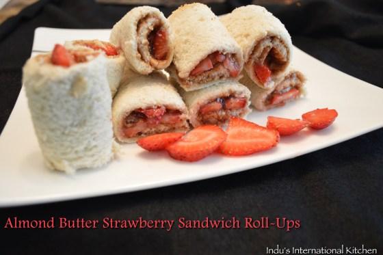 Almond butter strawberry roll ups