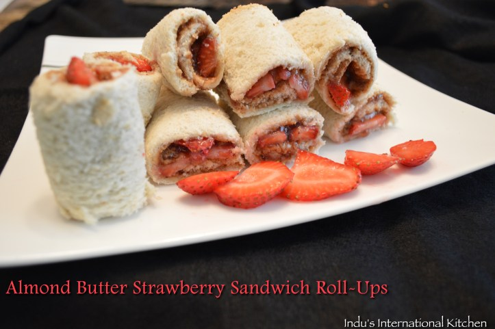 Almond butter strawberry roll ups
