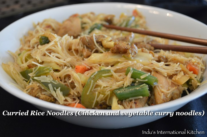 Chicken and Vegetable Curry Rice noodles