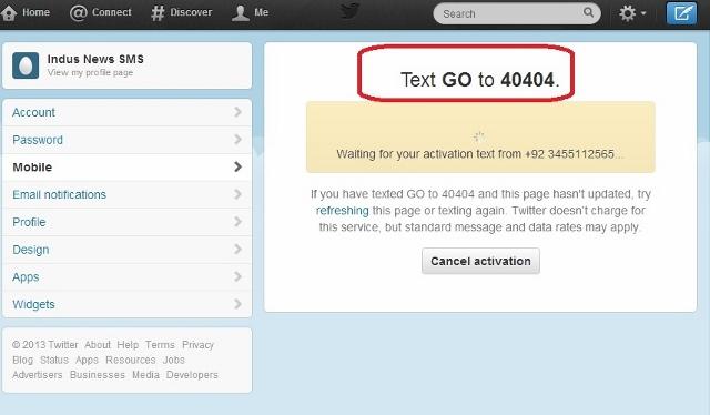 موبائل تان ايس ايم ايس ڪريو جنھن ۾ GOلکي ڪري 40404 تي موڪليو