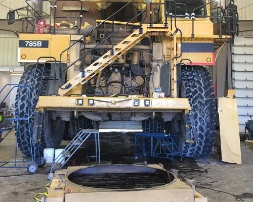 Caterpillar mining truck and radiator
