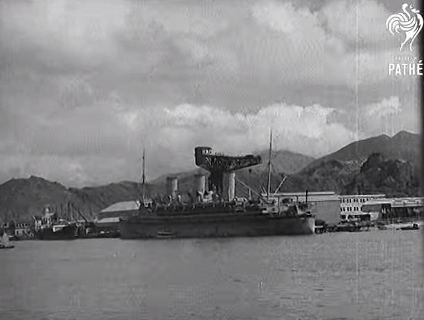 Hammerhead Crane from Pathe News film Civilians Evacuate HK 1940