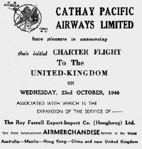 Cathay Pacific's first charter flight HK-UK SCMP 21st October 1946