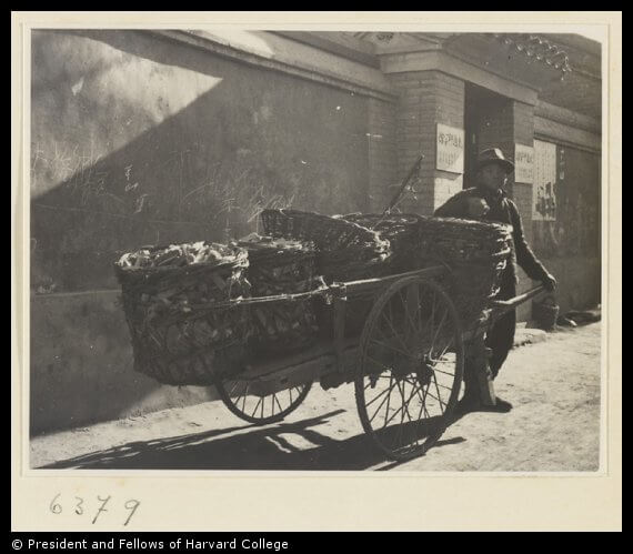 Charcoal Seller With Cart Loaded With Baskets Of Charcoal Courtesy Hedda Morrison Historical Photogrpahs Of China