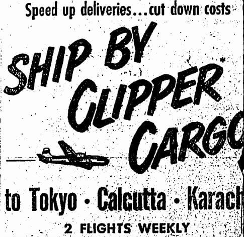 Clipper Cargo Pan American A Advert HK Sunday Herald 29.10.1950