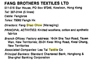 Fang Brothers Textiles Ltd snipped fom Major Companies of Far East..etc 92.93 Jack Carr