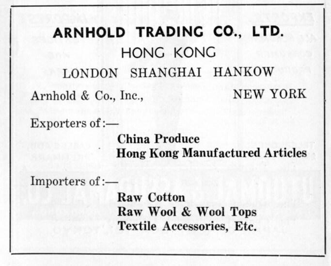 Arnhold Trading Co Ltd-agent-advert-1953