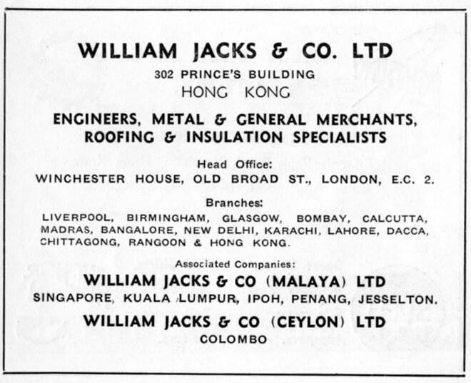 William Jacks & Co Ltd-agent-advert-1953