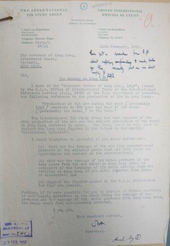 International Tin Study Group Letter (Feb 1951)
