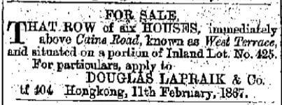 Douglas Lapraik For Sale Advert HK Daily Press 29th March 1867