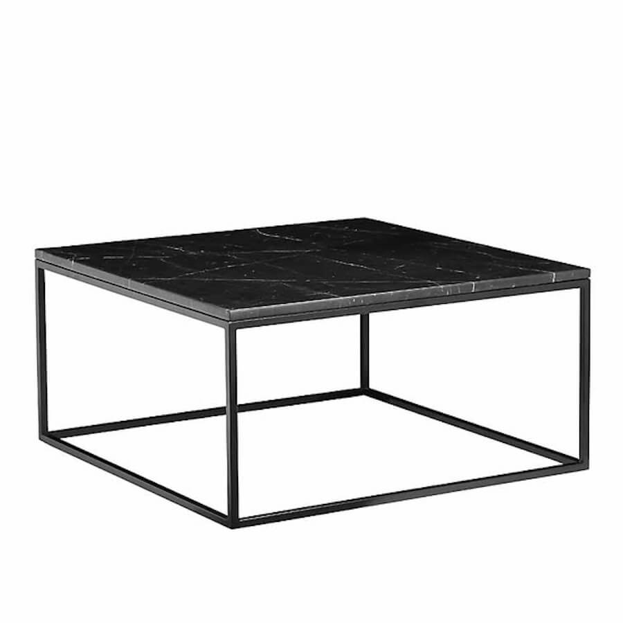 onix square marble coffee table with black base