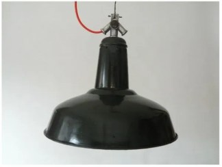 Donkerblauw geëmailleerde hanglamp uit frankrijk