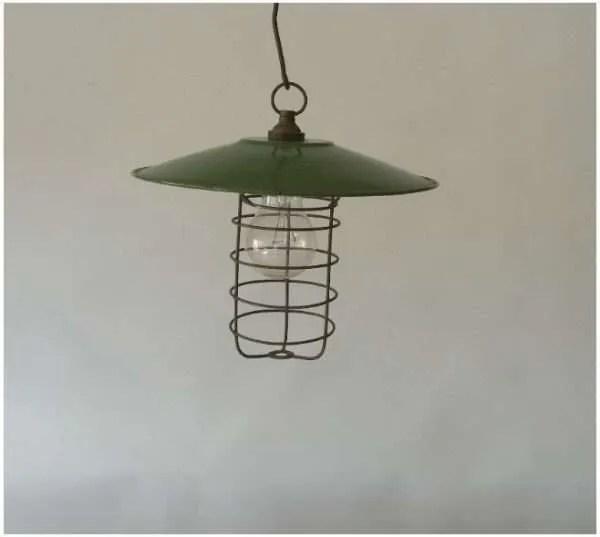 Kooilamp met groen geemailleerde kap 1b