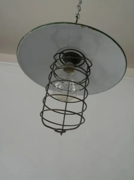 Kooilamp met groen geemailleerde kap 2