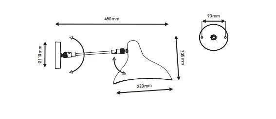 Mantis BS5 wand lamp specificatie