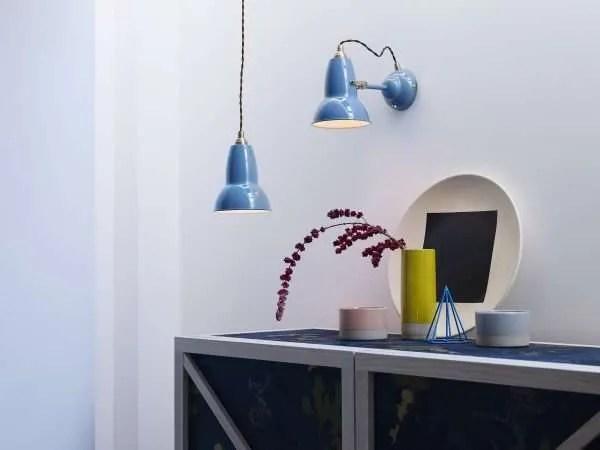 Original 1227 messing wandlamp - Dusty Blue