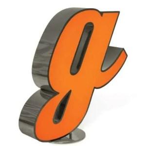 Delightfull letterlamp G frontaal 2