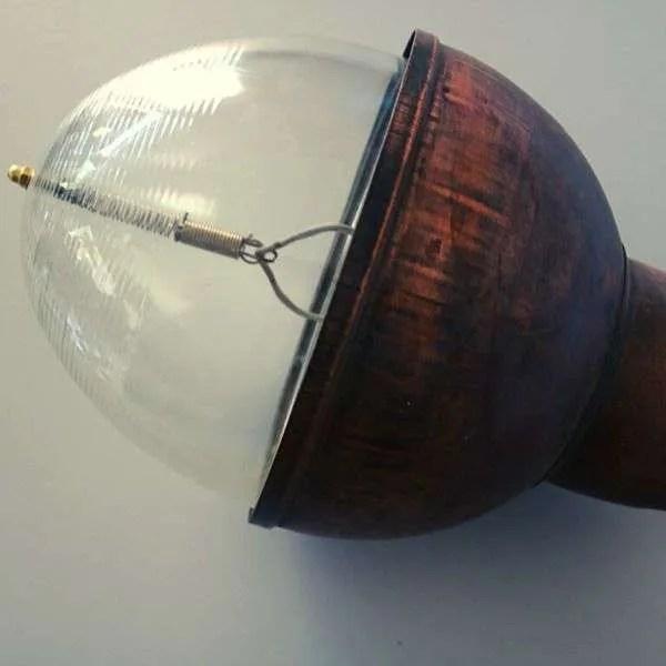 muurlamp koper glazen stolp arm vintage 6