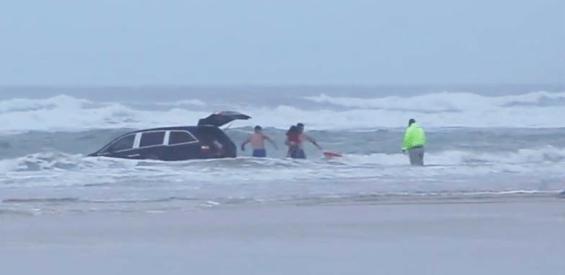 mother drives van into ocean