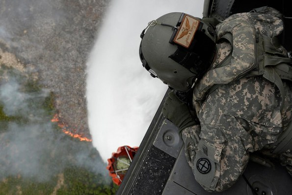Guard members have droped more than 4 million gallons of water and fire retardant throughout the wildfire states. In Washington State alone, more than 2.5 million gallons were dropped, triple what was dropped in the state in 2012.