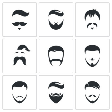 Series of illustrated men's hairstyles