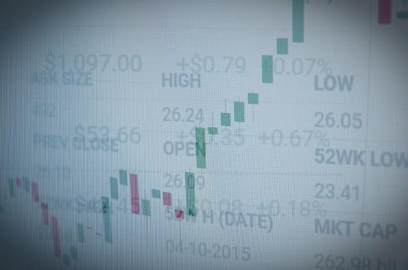 Photo of screen illustrating stock market volatility.