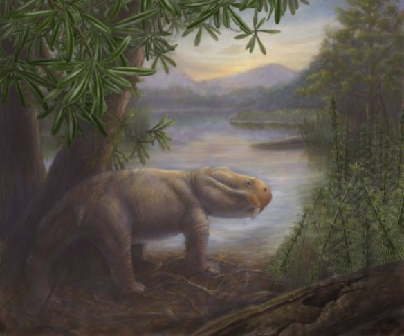 A Late Permian scene features one of that period's famed extinction survivors, Lystrosaurus. Image: © California Academy of Sciences | Illustration by Marlene Hill Donnelly.