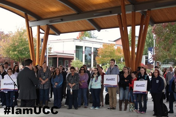 Staff and students at Washington's Lower Columbia College (LCC) share a moment of silence in support of shooting victims at Umpqua Community College in neighboring Oregon.