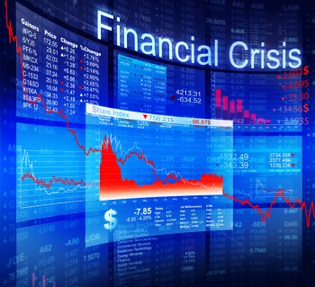 A digital illustration of the global financial crisis showing graphs with a downward trend.