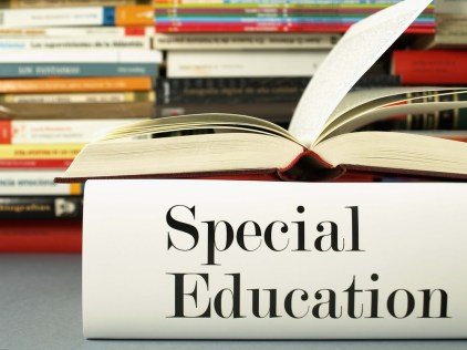 "A stack of books bearing the title ""special education."""