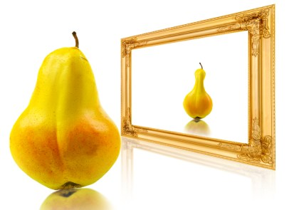 A pear looks at itself in the mirror and sees a thinner pear.