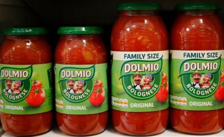 A row of jarred Dolmio pasta sauces.